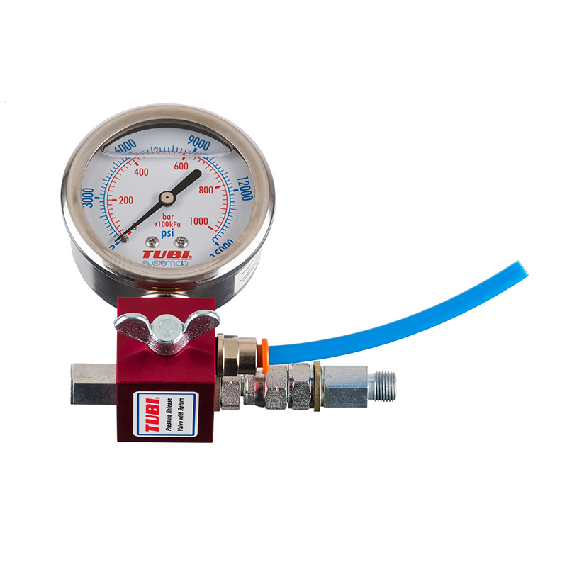 TUBI Pressure relief valve, manometer and grease return
